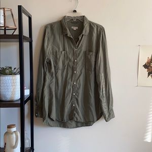 Army green button down top